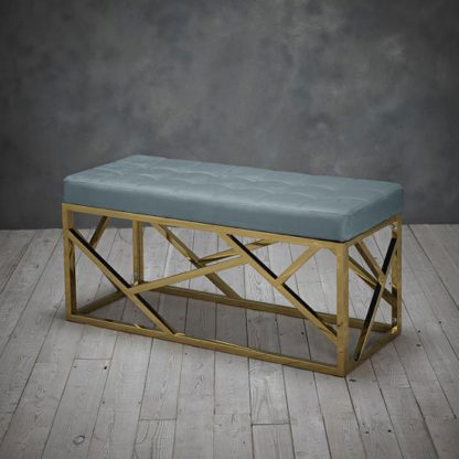 An Image of Renata Fabric Dining Bench In Green With Gold Frame