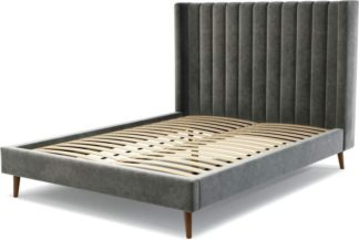 An Image of Custom MADE Cory King size Bed, Steel Grey Velvet with Walnut Stained Oak Legs
