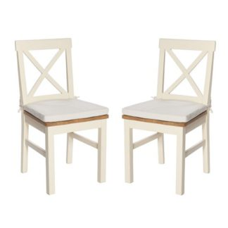 An Image of Lexington Wooden Dining Chair In Ivory With Seat Pad In A Pair