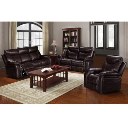 An Image of Avery Reclining Sofa Suite In Brown Faux Leather
