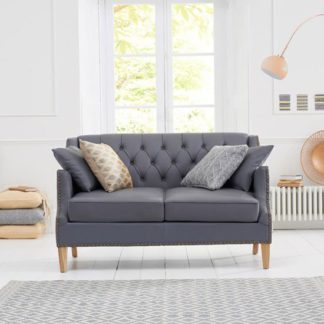 An Image of Kosmo 2 Seater Sofa In Grey Leather With Natural Ash Legs