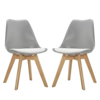 An Image of Sigmon Dining Chair In Matt Grey With White PU Seat In A Pair