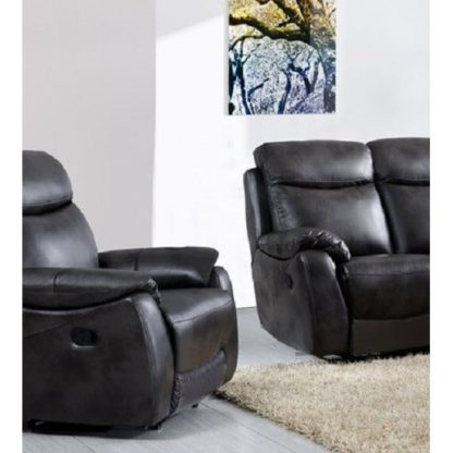 An Image of Canton Recliner Sofa Chair In Grey Faux Leather
