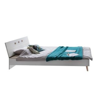 An Image of Avira Wooden Single Bed In Alpine White And Oak