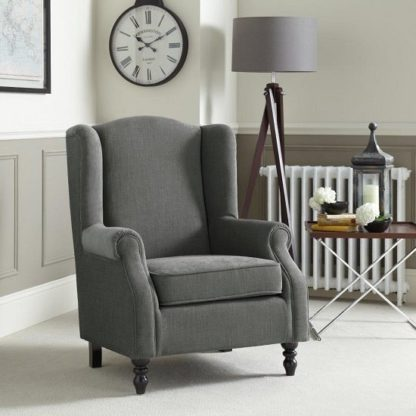 An Image of Jaxon Sofa Chair In Grey Fabric With Wooden Legs