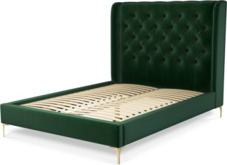 An Image of Custom MADE Romare Double size Bed, Bottle Green Velvet with Brass Legs
