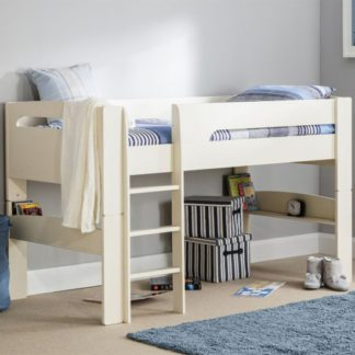 An Image of Pluto Wooden Midsleeper Bunk Bed In Stone White