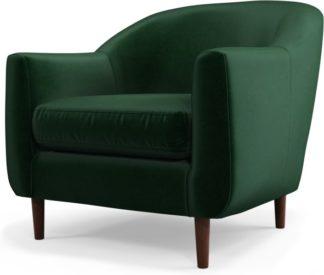 An Image of Custom MADE Tubby Armchair, Bottle Green Velvet with Dark Wood Legs