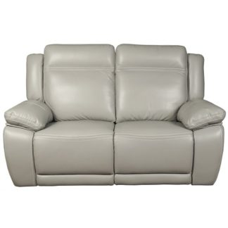 An Image of Baxter Recliner 2 Seater Sofa In Light Grey Leather Air Fabric