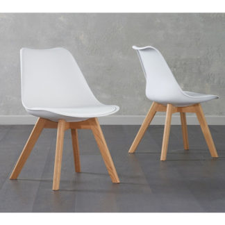 An Image of Brachium White Faux Leather Dining Chairs In Pair