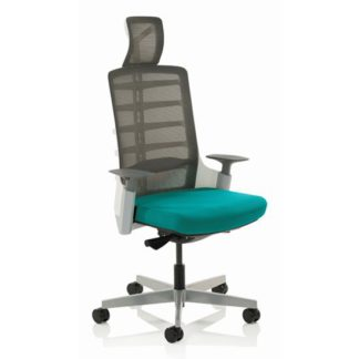 An Image of Exo Charcoal Grey Back Office Chair With Maringa Teal Seat