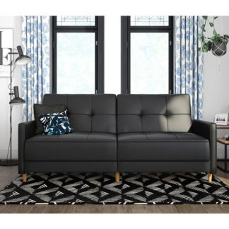 An Image of Andora Leather Sprung Sofa Bed In Black With Wooden Legs