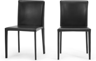 An Image of Calcott Set of 2 Dining Chairs, Black PVC
