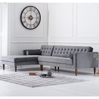 An Image of Ogma Velvet Left Facing Chaise Sofa Bed In Grey