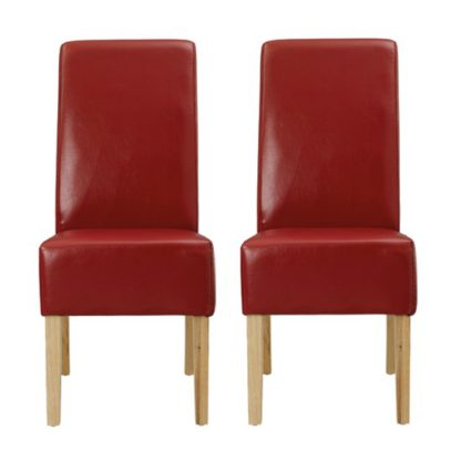 An Image of Padstow Red Finish Dining Chairs In Pair