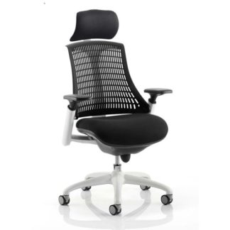An Image of Flex Task Headrest Office Chair In White Frame With Black Back