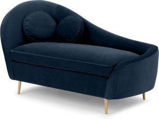 An Image of Kooper Right Hand Facing Chaise Longue, Sapphire Blue Velvet