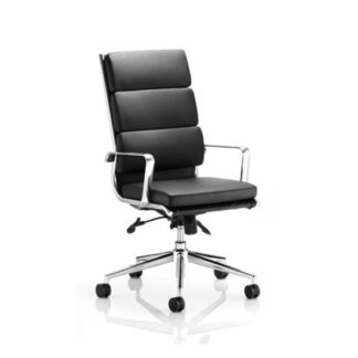 An Image of Savoy Office Chair In Black Bonded Leather With Castors