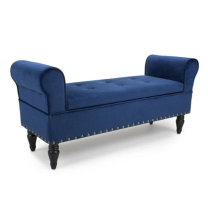 An Image of Downtown Brushed Velvet Storage Ottoman In Ocean Blue