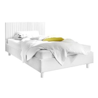 An Image of Altair Matt White Leather King Size Bed With Stripe Headboard