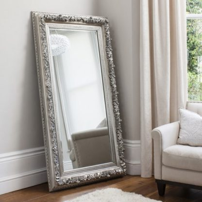 An Image of Eclipse Leaner Floor Mirror Rectangular In Silver