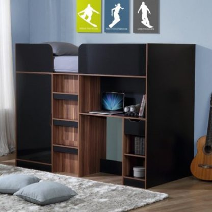 An Image of Cameo Children High Sleeper Bed In Walnut And Black With Storage