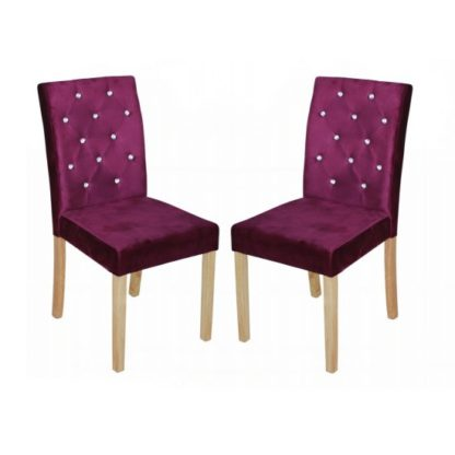 An Image of Kilcon Dining Chair In Purple Velvet And Diamante in A Pair