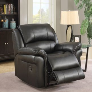 An Image of Claton Recliner Sofa Chair In Black Faux Leather