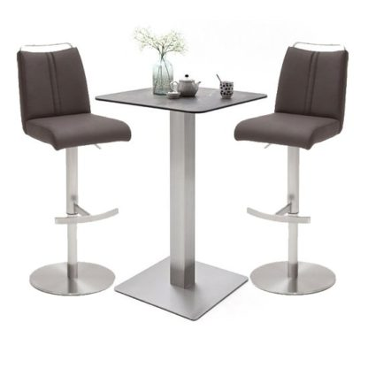 An Image of Soho Glass Bar Table With 2 Giulia Brown Leather Stools