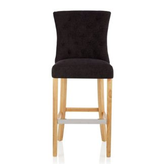 An Image of Marlon Bar Stool In Aubergine Fabric With Oak Legs