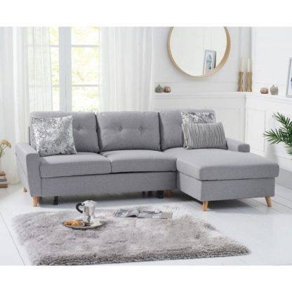 An Image of Correen Linen Right Hand Facing Chaise Sofa Bed In Grey