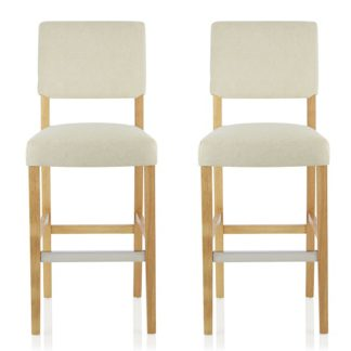 An Image of Vibio Bar Stools In Cream Fabric And Oak Legs In A Pair