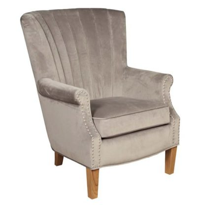 An Image of Bexley Fabric Lounge Chaise Armchair In Grey Velvet