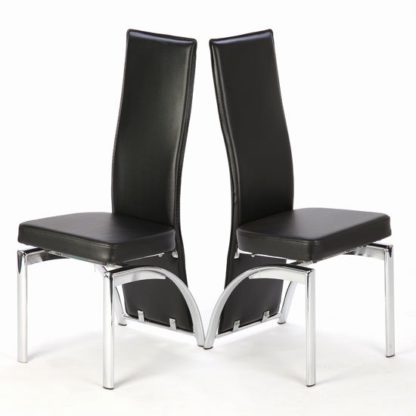 An Image of Romeo Black Dining Chairs In A Pair With Chrome Legs
