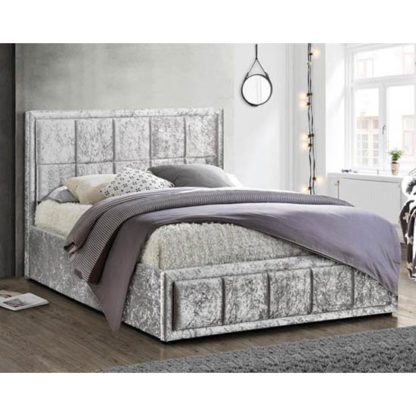 An Image of Hannover Ottoman Fabric Double Bed In Steel Crushed Velvet