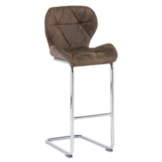 An Image of Samoa Cantilever Bar Stool In Brown Fabric With Chrome Frame