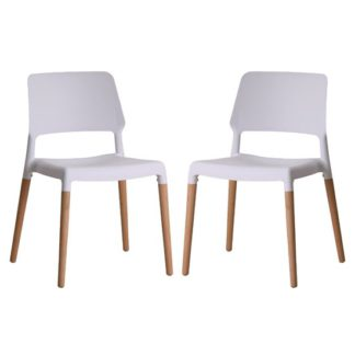 An Image of Riva White Finish Dining Chairs In Pair
