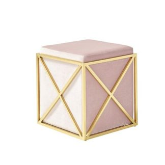 An Image of Farran Stool In Pink Velvet With Gold Plated Stainless Steel