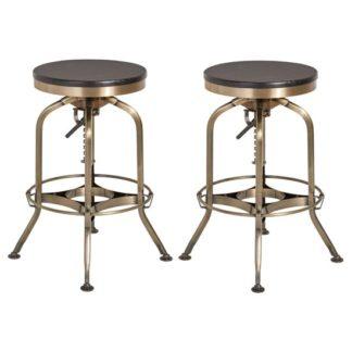 An Image of Diwo Metallic Bar Stools With Ash Wood Seat In Pair