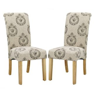An Image of Autumn Dining Chair In Regal Style Fabric And Oak legs in A Pair