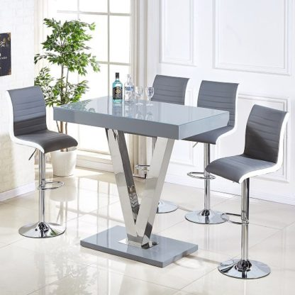 An Image of Vienna Glass Bar Table In Grey Gloss And 4 Ritz Bar Stools