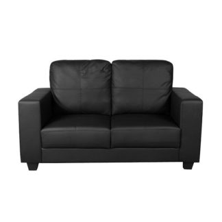 An Image of Queensland 2 Seater Sofa In Black Faux Leather