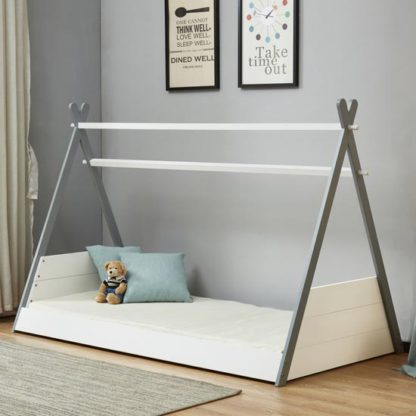 An Image of Teepee Wooden Single Bed In White And Grey