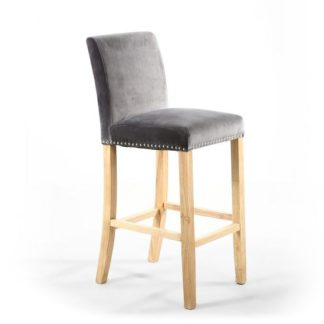 An Image of Dunbar Bar Chair In Grey Brushed Velvet With Chrome Ring