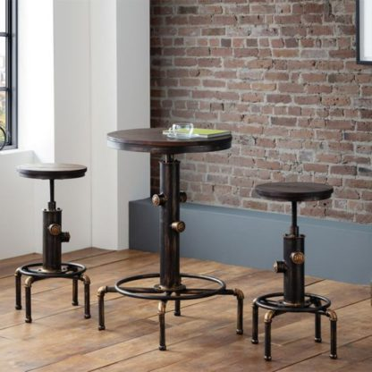 An Image of Rockport Pipework Bar Set In Brushed Copper And Rustic Elm