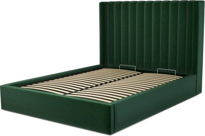 An Image of Custom MADE Cory King size Bed with Ottoman, Bottle Green Velvet