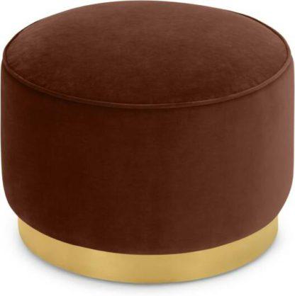 An Image of Hetherington Large Brass Base Pouffe, Warm Caramel Velvet