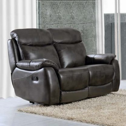 An Image of Pincoya Power Leather 2 Seater Sofa In Grey