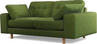 An Image of Content by Terence Conran Tobias, 2 Seater Sofa, Plush Vine Green Velvet, Light Wood Leg