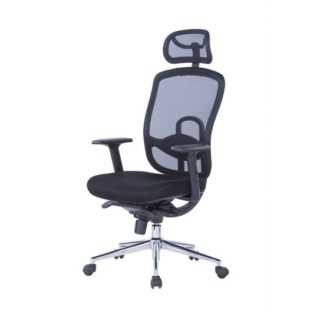 An Image of Tate Mesh Office Chair In Black With Fabric Seat And Headrest